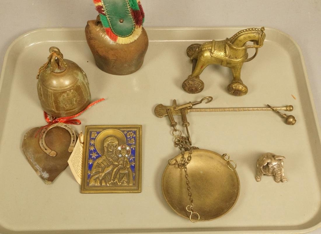 Lot Mixed Metal items. Eastern horse brass pull h