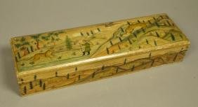 Hand painted box. Landscape scene. Man with tiger