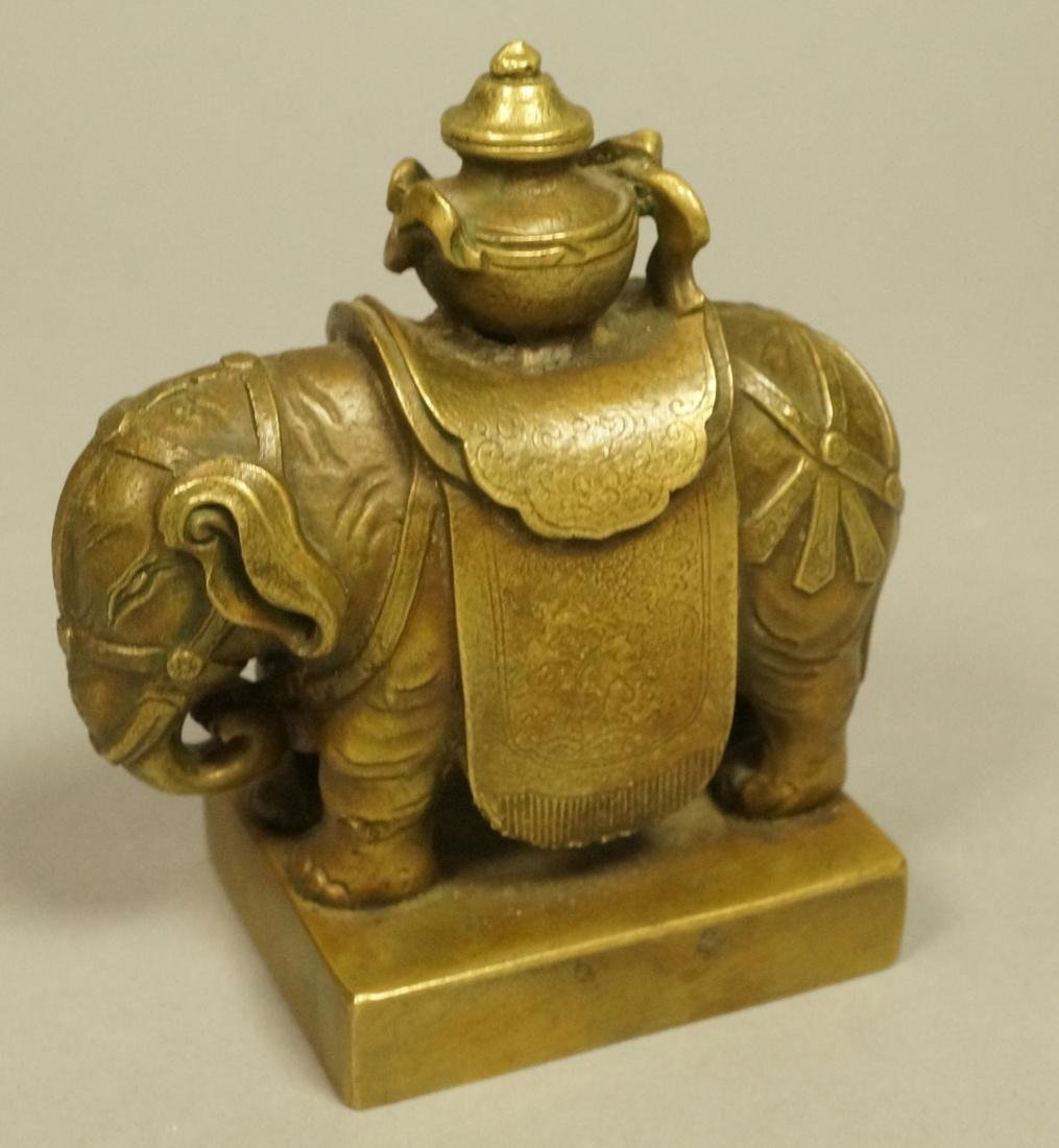 Brass Figural Sculpture. Elephant with urn mounte
