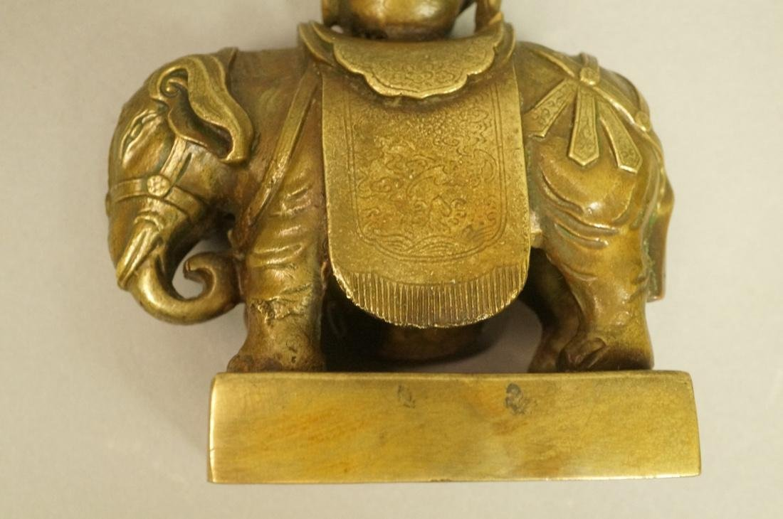 Brass Figural Sculpture. Elephant with urn mounte - 6