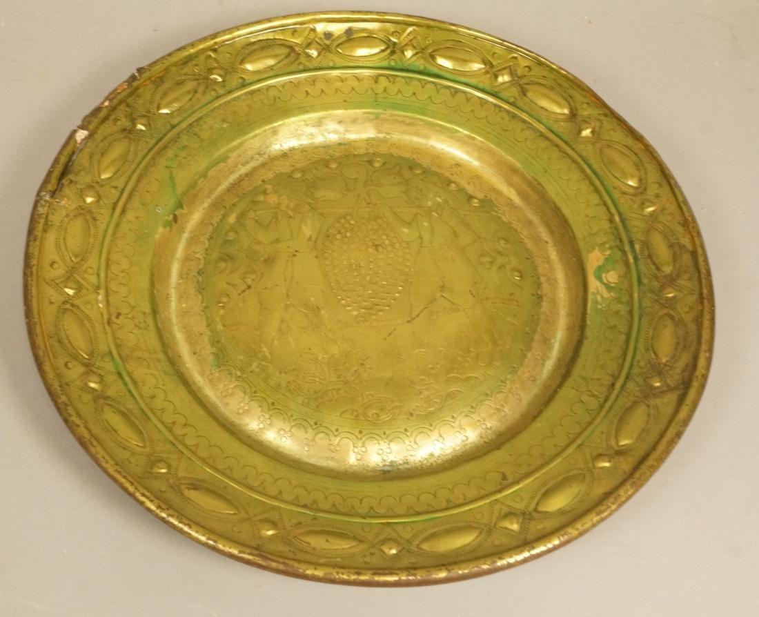 Antique Continental Brass Alms Platter Charger. D