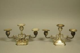 Pr Sterling Weighted Two Arm Candlesticks. scroll