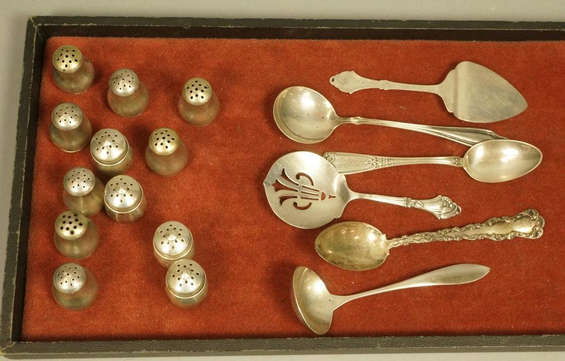 18pc Sterling silver table ware. Set 12 s&p mini