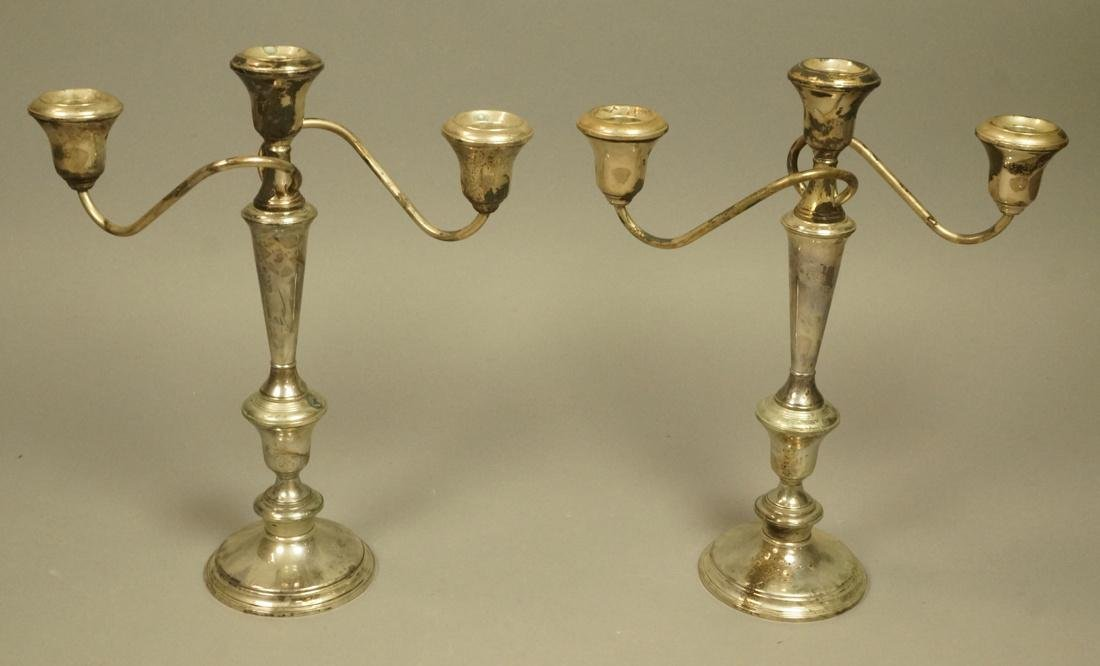 Pr Sterling Tall Candelabra. Weighted. Tall stick