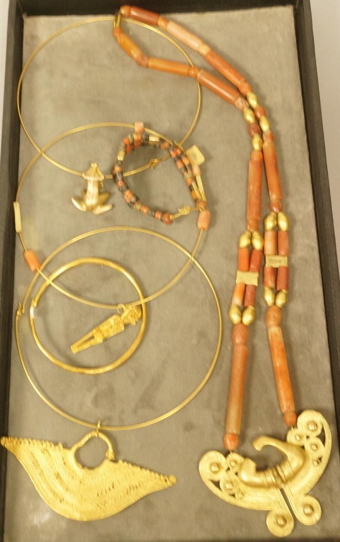 6PCS Colombian Jewelry.  Gold tone pre-Columbian
