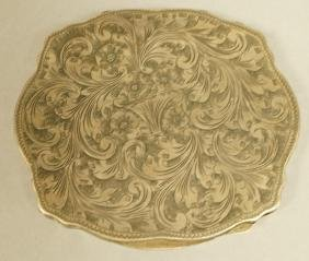 800 Sterling Silver Italy Engraved Compact. Antiq
