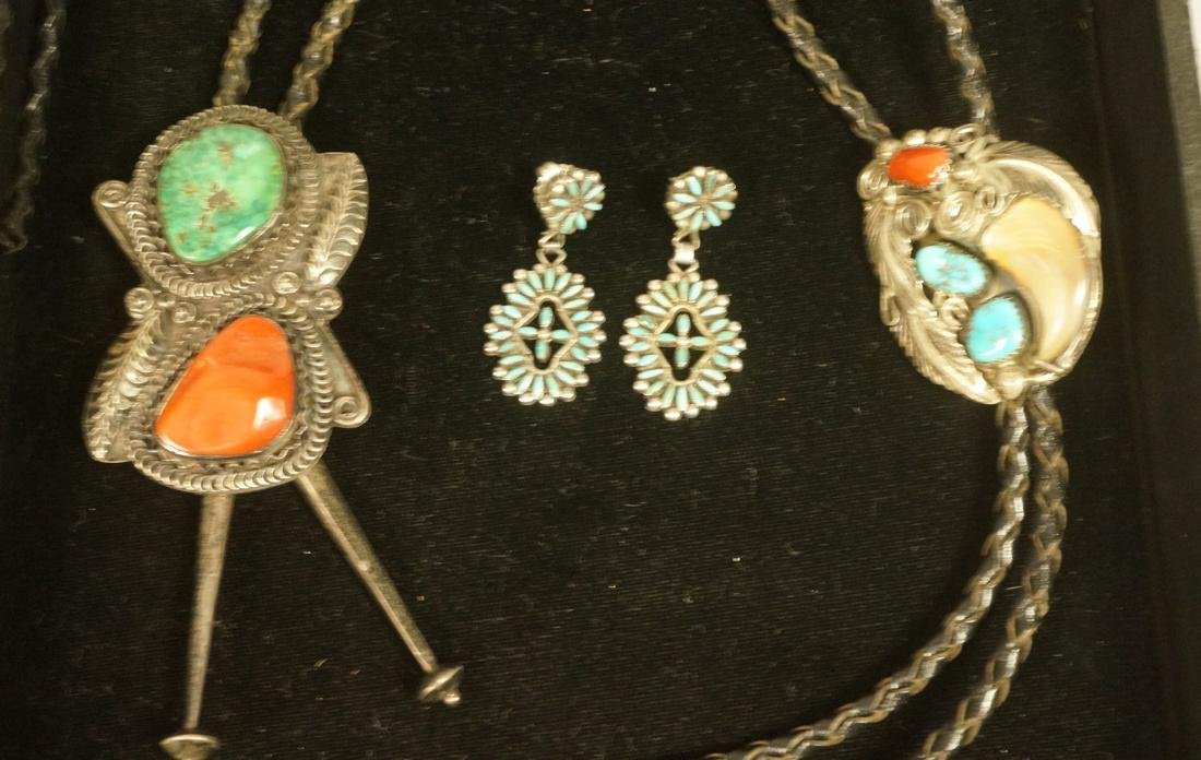 3pc American Indian Jewelry Lot. 1) Bolo tie with
