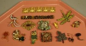 15pc Costume Jewelry Lot. JAY STRONGWATER Jeweled