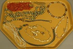14pc Costume Jewelry Lot. JOMAZ Gold tone & Rhine