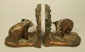 Pr Elephant Bookends. Marked CJO 9687. Iron booke