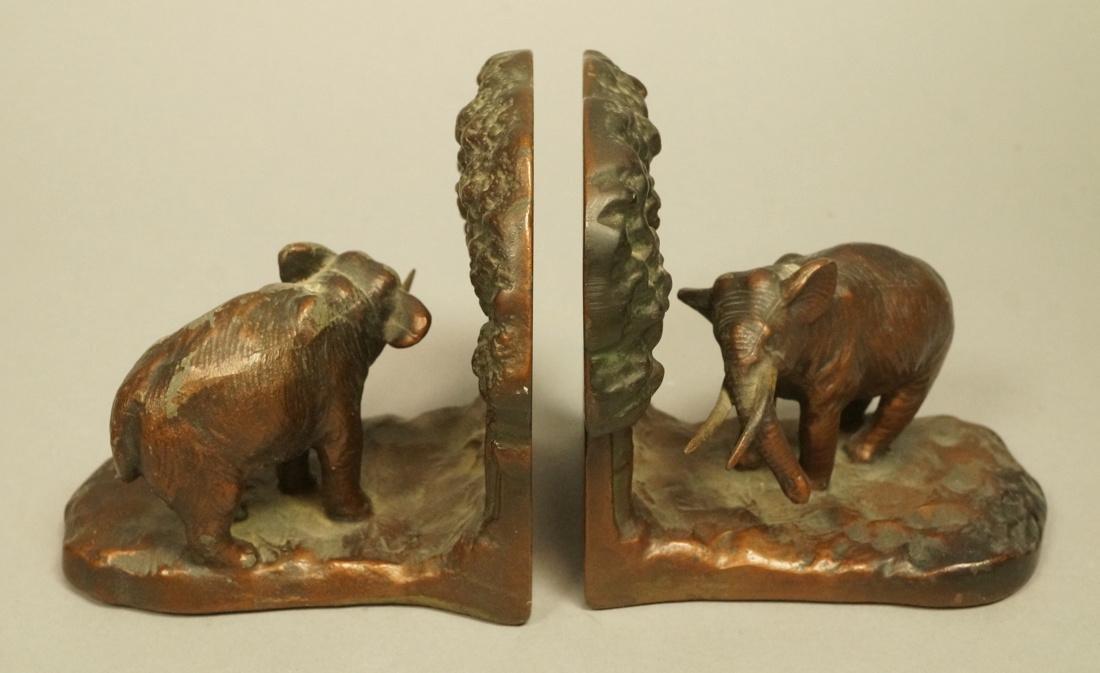 Pr Elephant Bookends. Marked CJO 9687. Iron booke