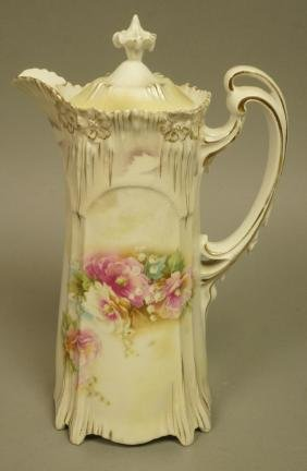 RS PRUSSIA Chocolate Pot. Art Nouveau body with g