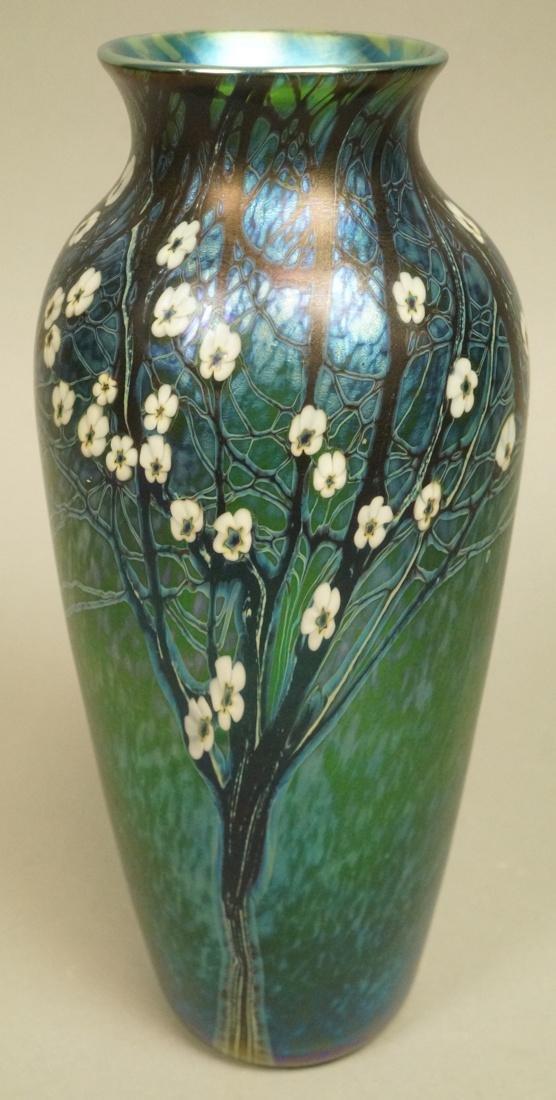 ORIENT & FLUME Art Glass Vase. 1980. Blue & purpl