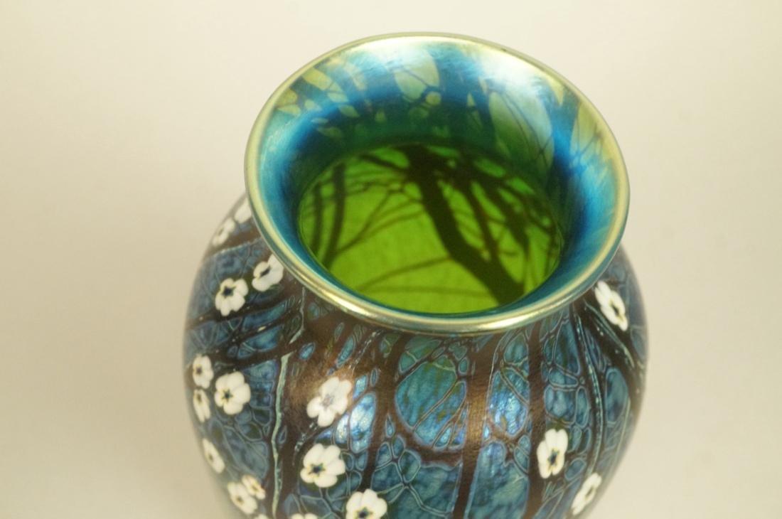 ORIENT & FLUME Art Glass Vase. 1980. Blue & purpl - 2