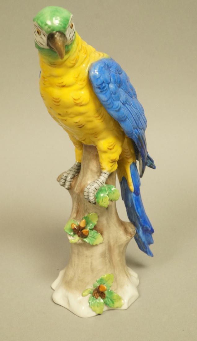 Continental Colorful Ceramic Parrot Figure Sculpt
