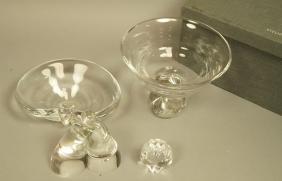 4pc STEUBEN American Art Glass. 1). Embracing Fig