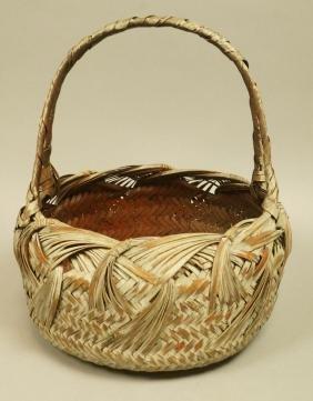 Vintage Woven Wicker Handled Basket. Light paint