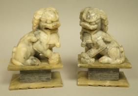 Pr Soapstone carved Foo Dog Sculptures Figures. M