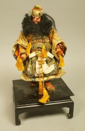 Japanese Samurai Warrior Figure. Ebonized Wood St