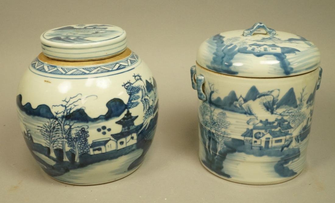 2pcs Asian Pottery Ginger Jars. 1) Rounded form w