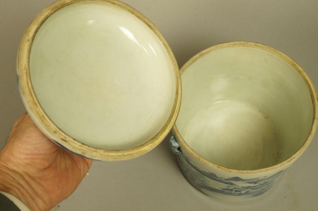 2pcs Asian Pottery Ginger Jars. 1) Rounded form w - 5