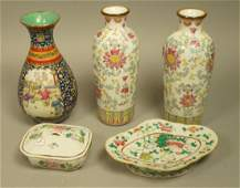5pc Asian Stoneware Pottery Lot. Lidded box with