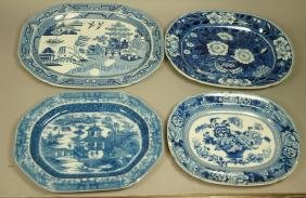 Lot 4 Blue Transferware China Platters. 1) Opaque