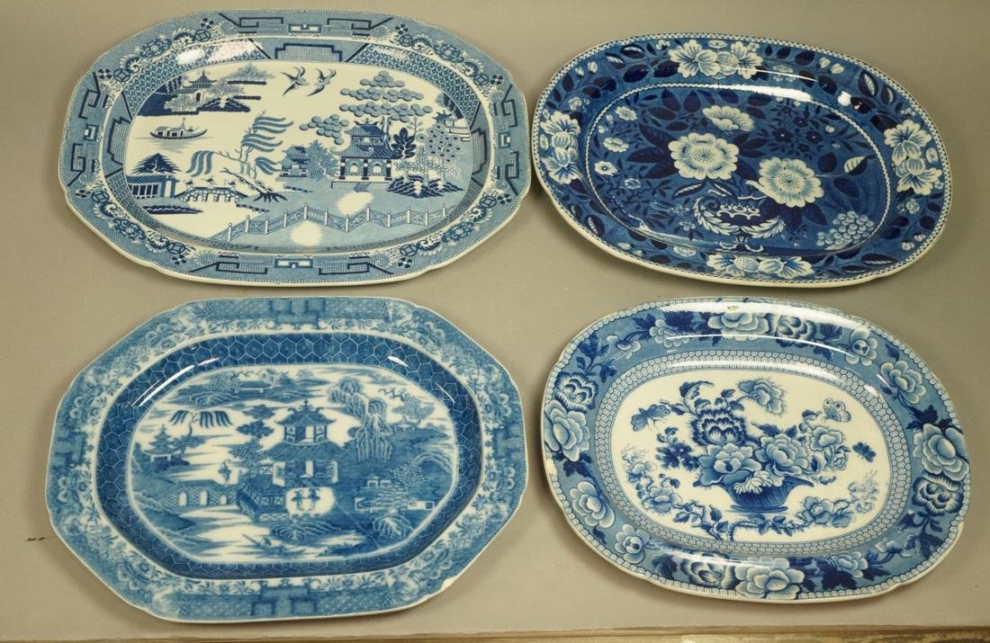 Lot 4 Blue Transferware China Platters. 1) Opaque