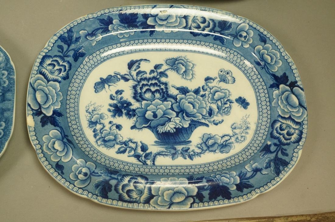 Lot 4 Blue Transferware China Platters. 1) Opaque - 2