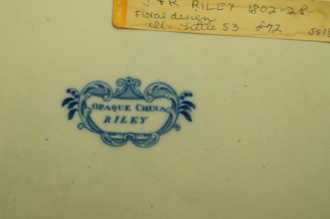 Lot 4 Blue Transferware China Platters. 1) Opaque - 3