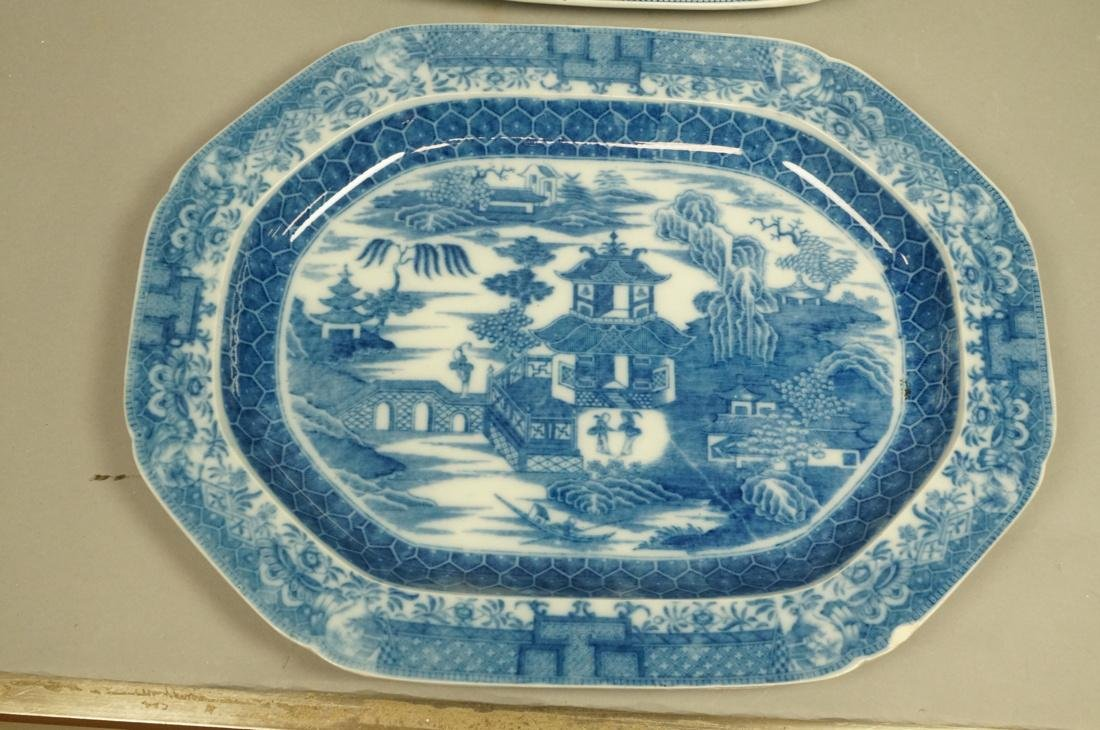 Lot 4 Blue Transferware China Platters. 1) Opaque - 4