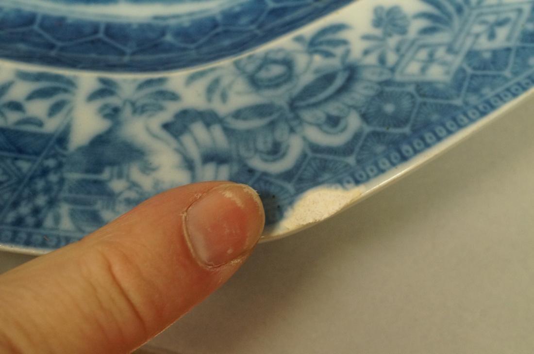 Lot 4 Blue Transferware China Platters. 1) Opaque - 5