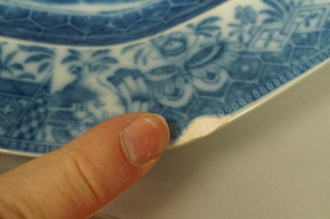 Lot 4 Blue Transferware China Platters. 1) Opaque - 6