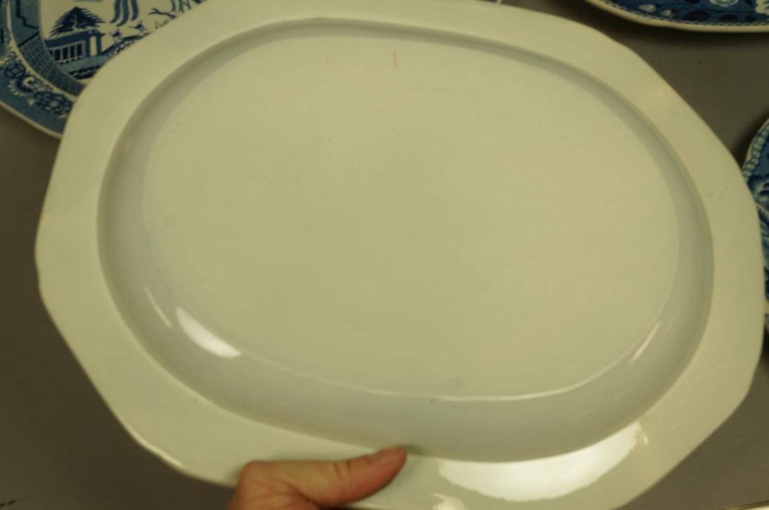 Lot 4 Blue Transferware China Platters. 1) Opaque - 7