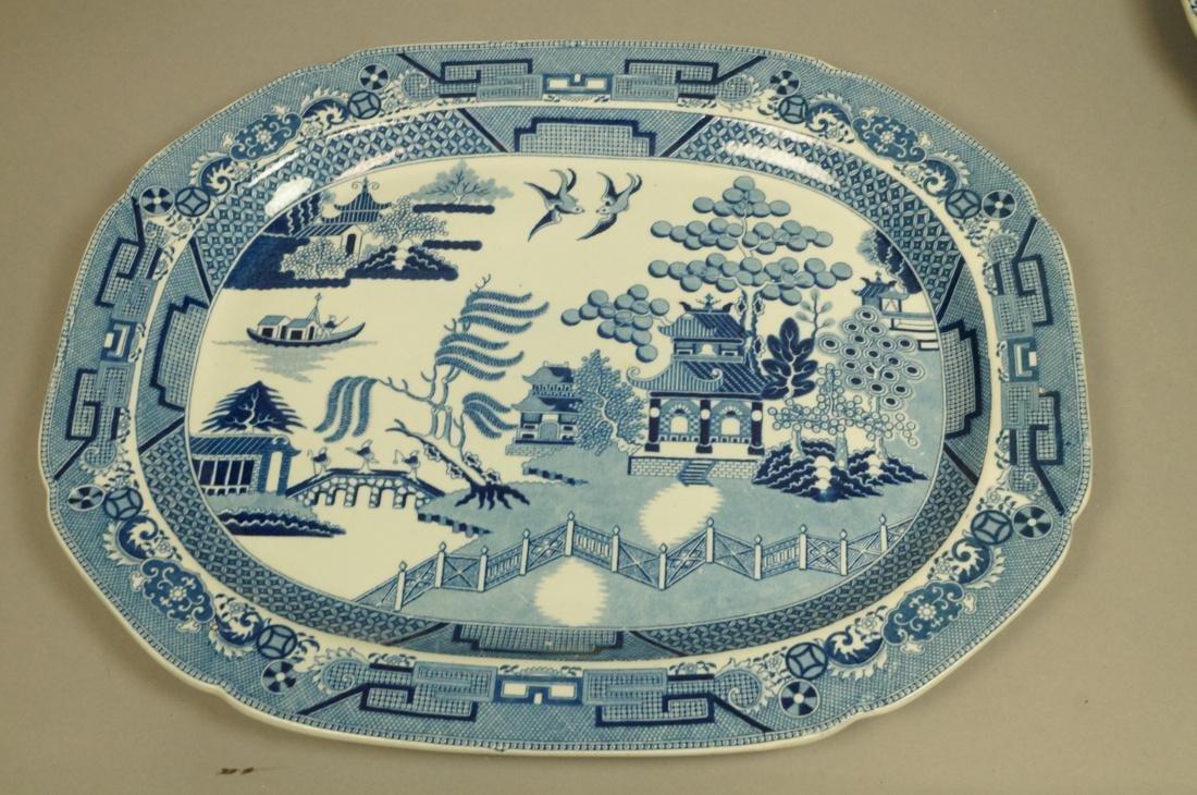 Lot 4 Blue Transferware China Platters. 1) Opaque - 8