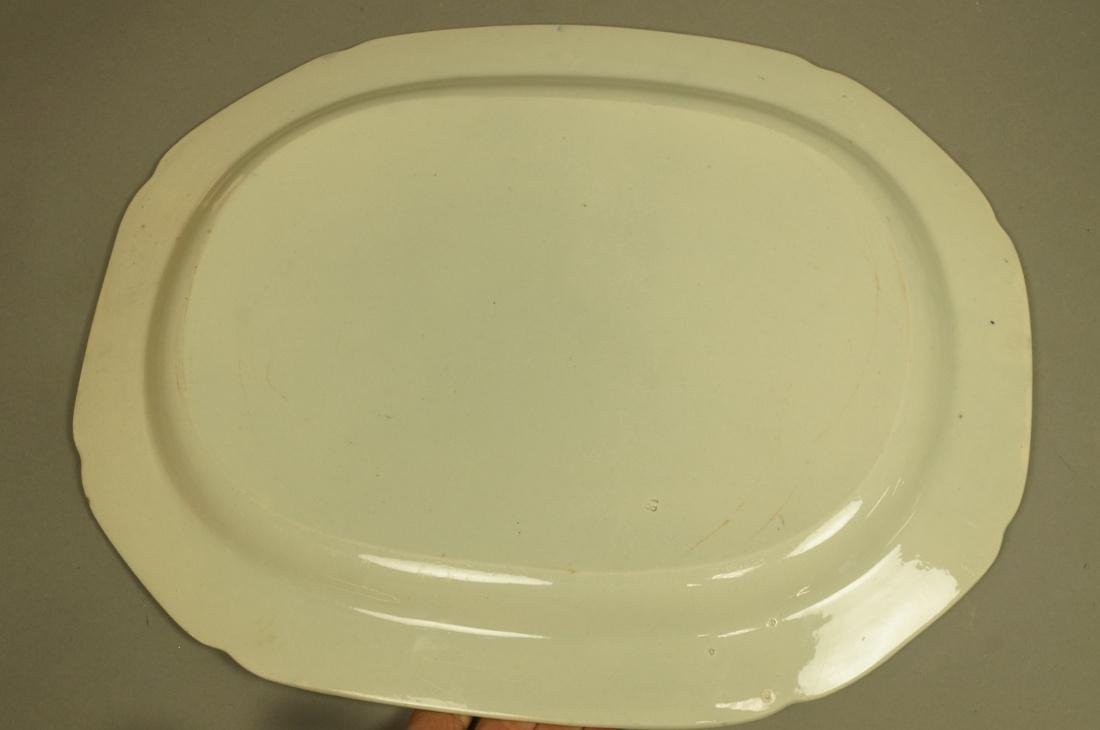 Lot 4 Blue Transferware China Platters. 1) Opaque - 9