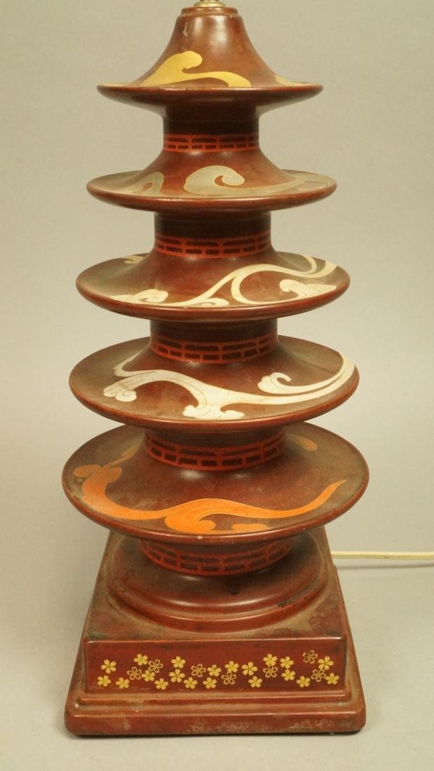 Heavy Metal Asian Pagoda style Lamp. Hand painted