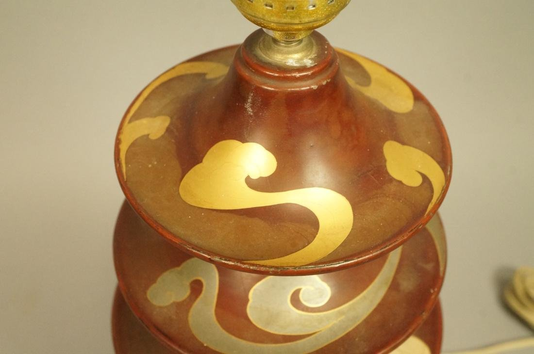 Heavy Metal Asian Pagoda style Lamp. Hand painted - 2