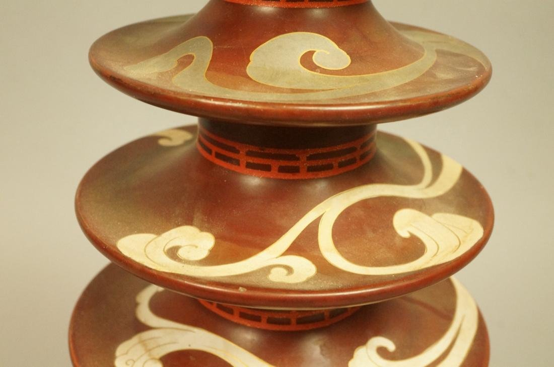 Heavy Metal Asian Pagoda style Lamp. Hand painted - 3