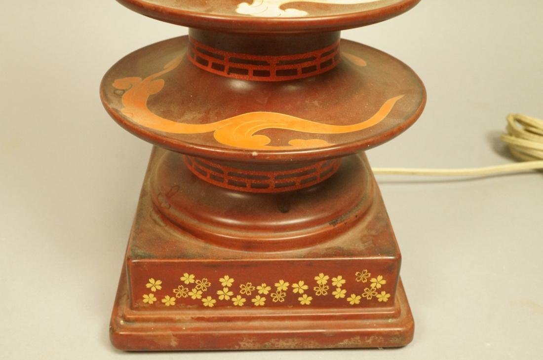 Heavy Metal Asian Pagoda style Lamp. Hand painted - 4