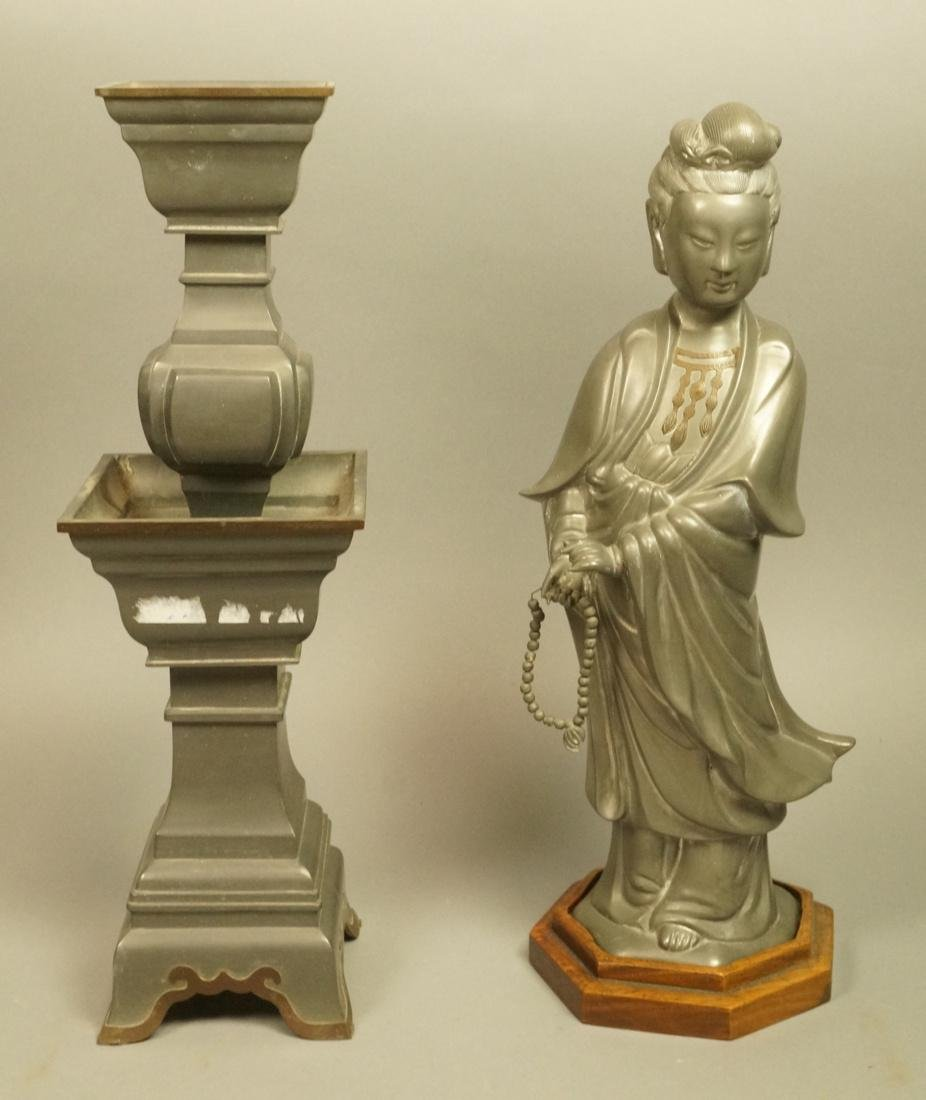 2pc Asian Pewter Items. Pewter Figural Female Scu