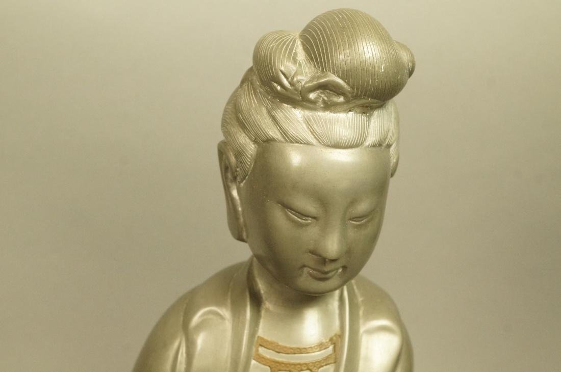 2pc Asian Pewter Items. Pewter Figural Female Scu - 2
