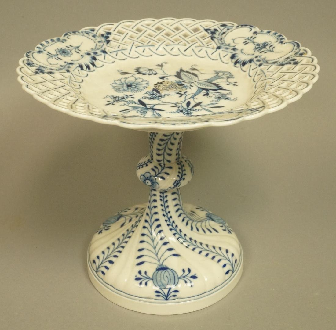 Meissen Marked Blue Onion Footed Compote. Pierced