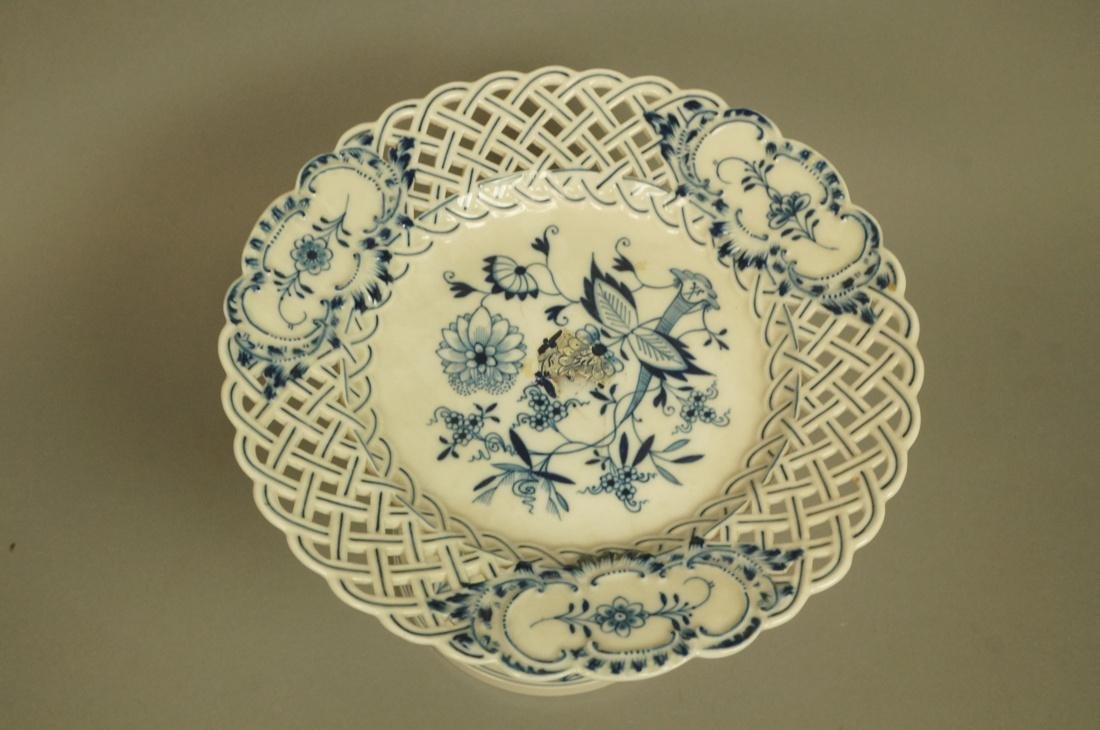 Meissen Marked Blue Onion Footed Compote. Pierced - 2