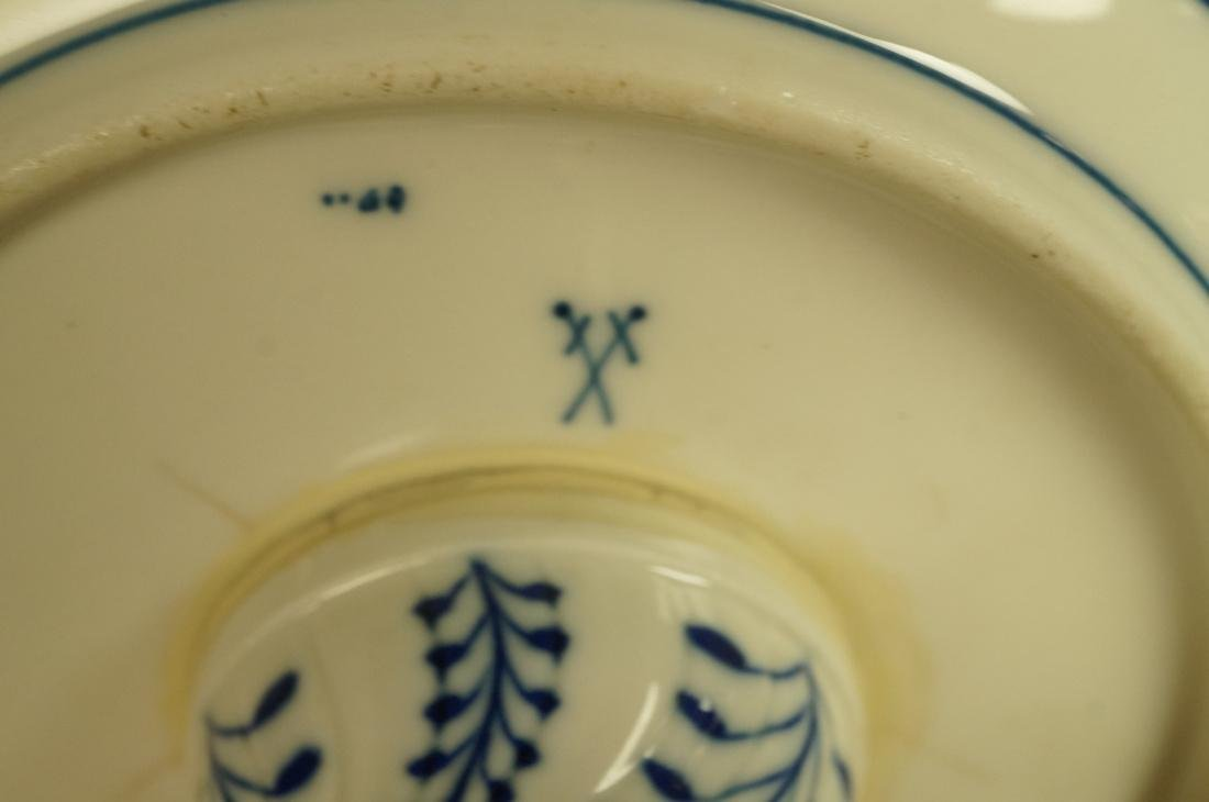 Meissen Marked Blue Onion Footed Compote. Pierced - 6