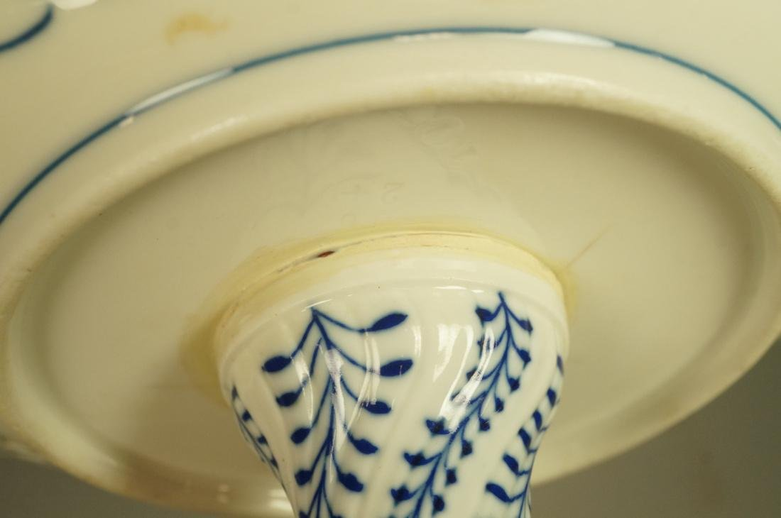 Meissen Marked Blue Onion Footed Compote. Pierced - 7