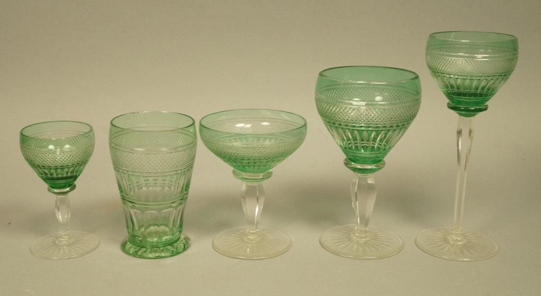 23 VAL ST LAMBERT Emerald Green Stemware Glasses.