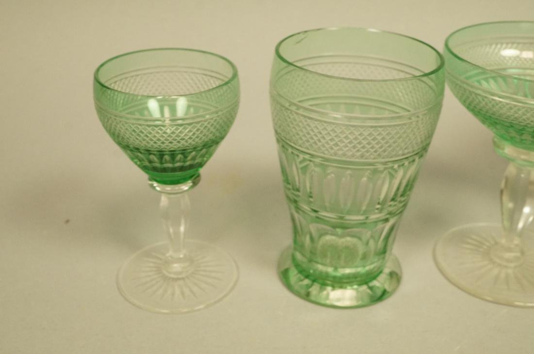 23 VAL ST LAMBERT Emerald Green Stemware Glasses. - 2