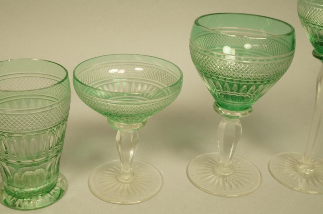 23 VAL ST LAMBERT Emerald Green Stemware Glasses. - 3