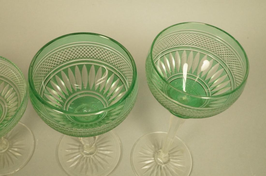 23 VAL ST LAMBERT Emerald Green Stemware Glasses. - 4